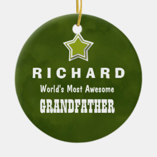 Awesome GRANDFATHER Green Background Name A03 Round Ceramic Decoration