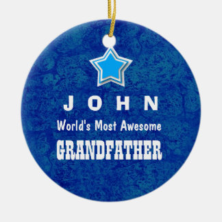 Awesome GRANDFATHER Royal Blue Background Name A04 Round Ceramic Decoration