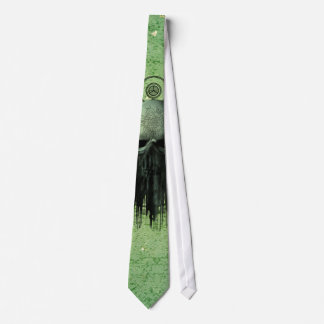 Awesome green skull with grunge tie