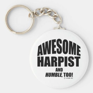 Awesome Harpist Basic Round Button Key Ring