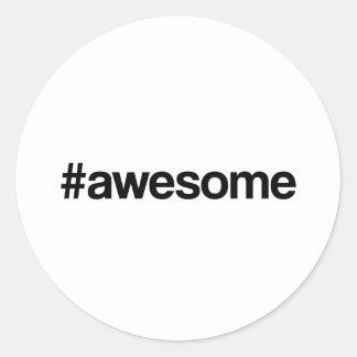 Awesome Hashtag Round Sticker