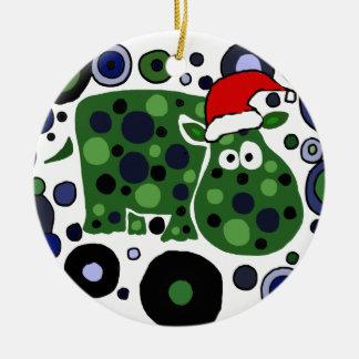 Awesome Hippo Christmas Art Abstract Christmas Ornament