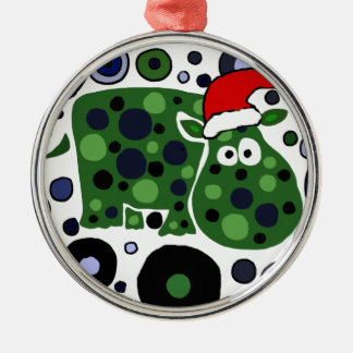 Awesome Hippo Christmas Art Abstract Silver-Colored Round Decoration