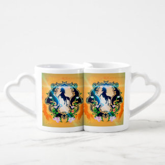 Awesome horse silhouette in black lovers mug sets
