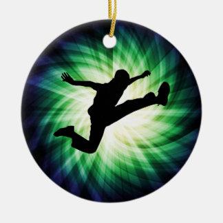Awesome Jump Kick Round Ceramic Decoration