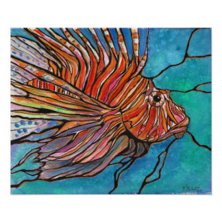 "Awesome Lionfish ""Stained Glass Style"" Art Print! Poster"
