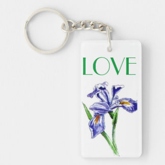 Awesome LOVE Purple Blue Iris Flower Photo Design Rectangular Acrylic Key Chains
