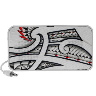 Awesome Maori tribal design on white background Portable Speaker