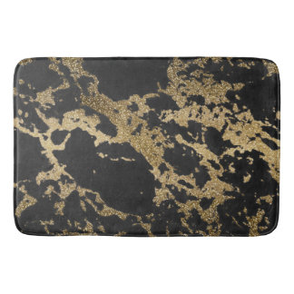 Awesome modern faux gold glitter black marble bath mat