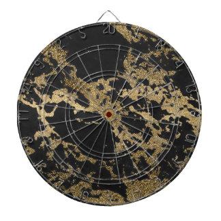 Awesome modern faux gold glitter black marble dartboard