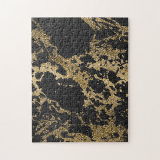 Awesome modern faux gold glitter black marble jigsaw puzzle