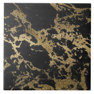 Awesome modern faux gold glitter black marble large square tile