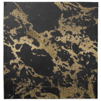 Awesome modern faux gold glitter black marble napkin