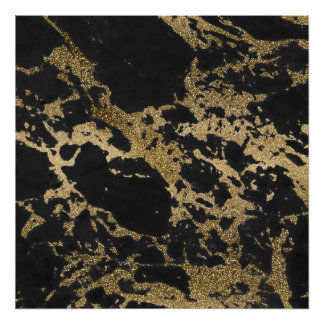 Awesome modern faux gold glitter black marble poster