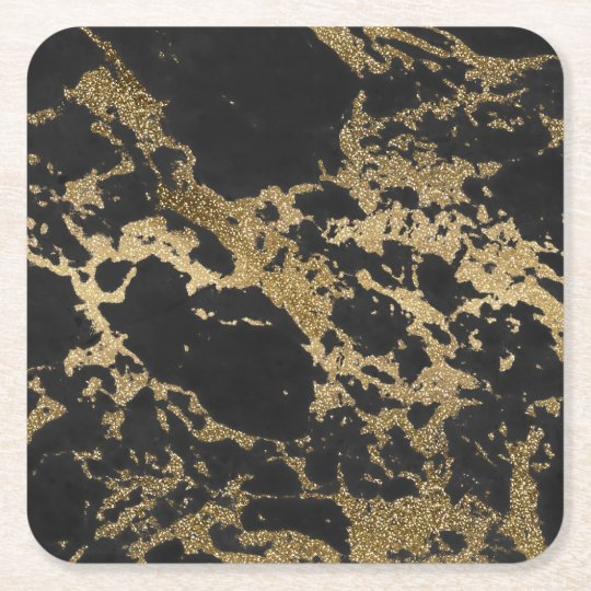 Awesome modern faux gold glitter black marble square