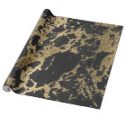 Awesome modern faux gold glitter black marble wrapping paper