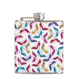 Awesome modern watercolor  girly high heel shoes hip flask