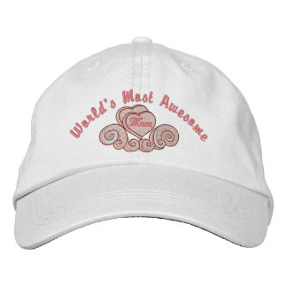 Awesome Mom Hearts Embroidered Baseball Caps