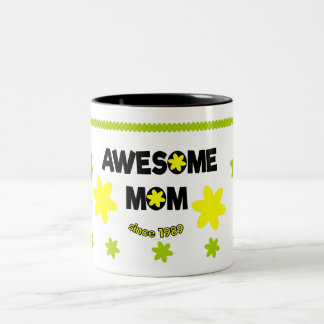 Awesome mom since 1989 Two-Tone coffee mug
