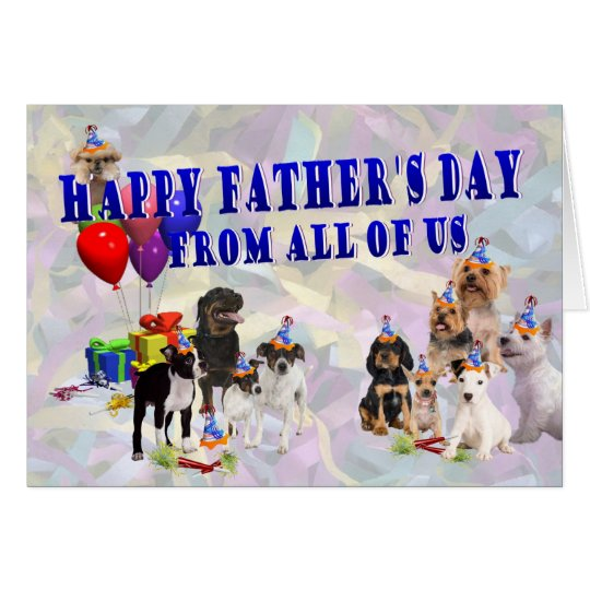 Awesome Multi Breed Happy Father's Day Card