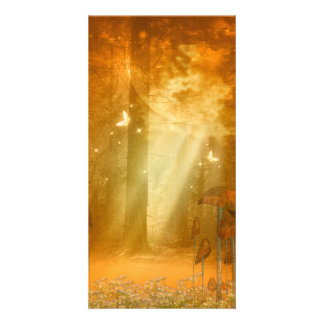 Awesome mystical forest with butterflies photo card template