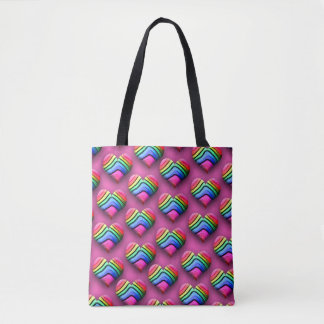 Awesome Neon Rainbow Hearts Tote Bag