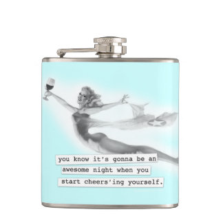 Awesome Night When you Cheers'ing Retro PinUp Girl Flasks