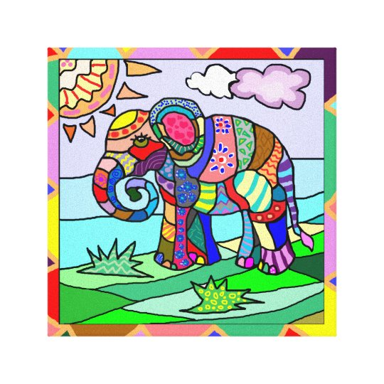 Awesome ornamental folk art colourful elephant canvas print