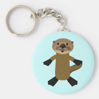 Awesome Otters Basic Round Button Key Ring