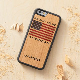 Awesome Patriotic Proud to be American Monogram Carved® Cherry iPhone 6 Bumper Case