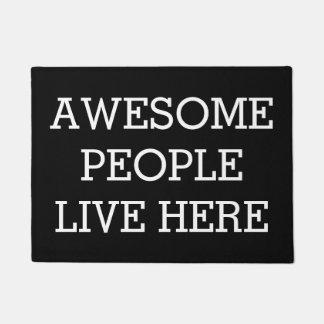 Door Mats - Awesome People Live Here Black Funny Doormat