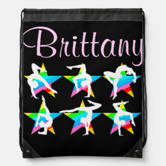 AWESOME PERSONALIZED GYMNASTICS STAR NAP SACK DRAWSTRING BACKPACKS