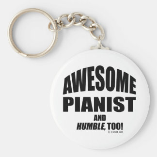 Awesome Pianist Basic Round Button Key Ring