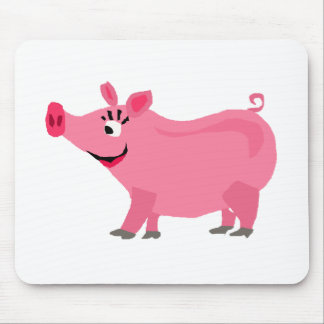 Awesome Pink Pig Wearing Lipstick Art Mouse Pad