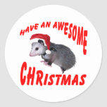 Awesome Possum Christmas Round Sticker