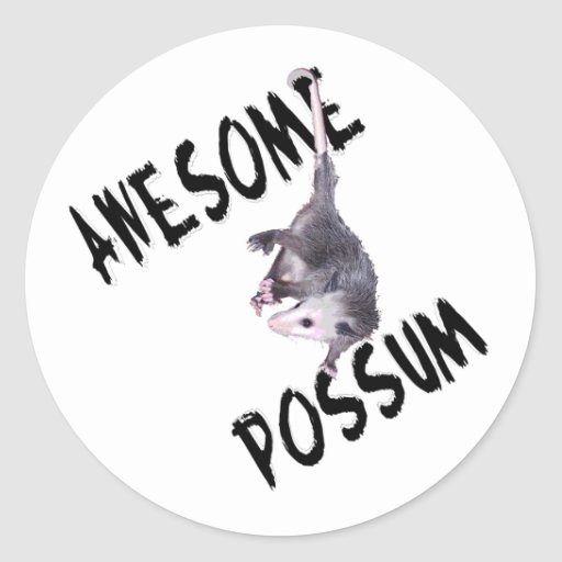 Awesome Possum Opossum Round Sticker