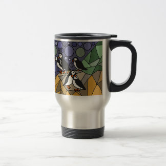 Awesome Puffin Bird Art Abstract Original Travel Mug