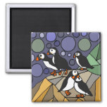 Awesome Puffin Birds Art Abstract Magnets