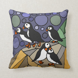 Awesome Puffin Birds Art Abstract Throw Pillow