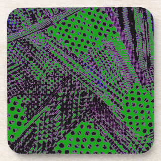 Awesome Purple Green Abstract Architectural Design Beverage Coaster