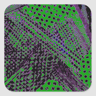 Awesome Purple Green Abstract Architectural Design Square Sticker