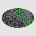 Awesome Purple Green Abstract Architectural Design Oval Stickers
