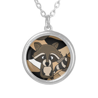 Awesome Raccoon Art Abstract Silver Plated Necklace