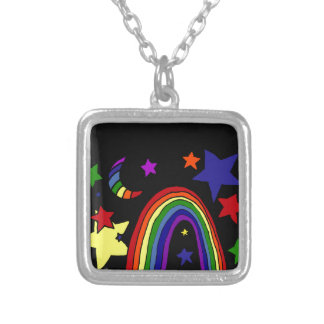 Awesome Rainbow and Stars Art Abstract Pendants