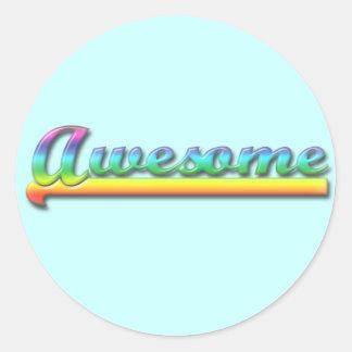Awesome - Rainbow Round Sticker
