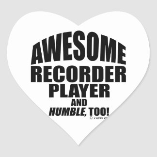 Awesome Recorder Player Heart Sticker