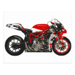 Awesome Red Racing Motorcycle Postcard