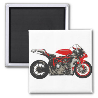 Awesome Red Racing Motorcycle Square Magnet