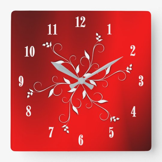 Awesome Red White Numbers Accent Square Wall Clock