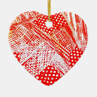 Awesome Red Yellow Abstract Design Image Ceramic Heart Decoration
